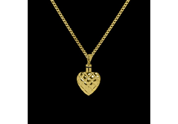 Brass Quilted Heart Cremation Pendant #36-590
